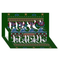 Ugly Summer Ugly Holiday Christmas Green Background Best Friends 3d Greeting Card (8x4)