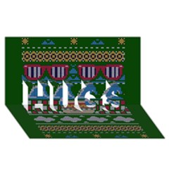 Ugly Summer Ugly Holiday Christmas Green Background Hugs 3d Greeting Card (8x4)