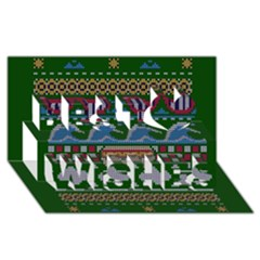 Ugly Summer Ugly Holiday Christmas Green Background Best Wish 3D Greeting Card (8x4)