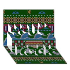 Ugly Summer Ugly Holiday Christmas Green Background You Rock 3d Greeting Card (7x5)