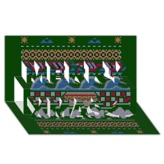 Ugly Summer Ugly Holiday Christmas Green Background Merry Xmas 3d Greeting Card (8x4)