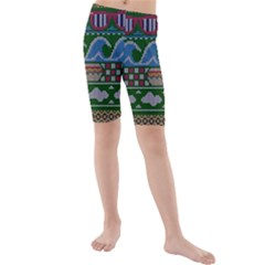 Ugly Summer Ugly Holiday Christmas Green Background Kids  Mid Length Swim Shorts