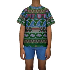 Ugly Summer Ugly Holiday Christmas Green Background Kids  Short Sleeve Swimwear