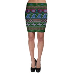 Ugly Summer Ugly Holiday Christmas Green Background Bodycon Skirt