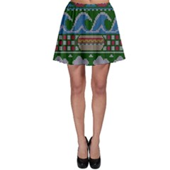 Ugly Summer Ugly Holiday Christmas Green Background Skater Skirt