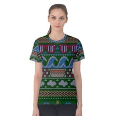 Ugly Summer Ugly Holiday Christmas Green Background Women s Cotton Tee