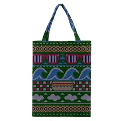 Ugly Summer Ugly Holiday Christmas Green Background Classic Tote Bag