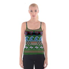 Ugly Summer Ugly Holiday Christmas Green Background Spaghetti Strap Top