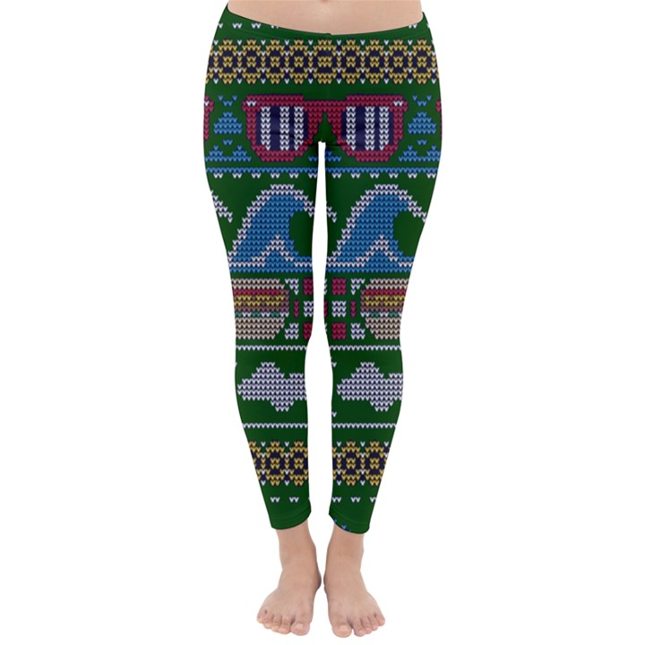Ugly Summer Ugly Holiday Christmas Green Background Classic Winter Leggings