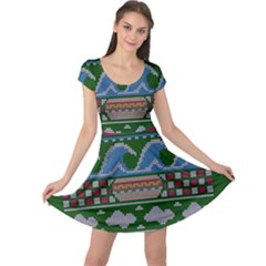 Ugly Summer Ugly Holiday Christmas Green Background Cap Sleeve Dresses