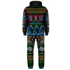 Ugly Summer Ugly Holiday Christmas Green Background Hooded Jumpsuit (men)