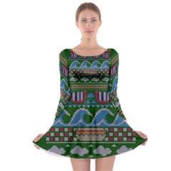Ugly Summer Ugly Holiday Christmas Green Background Long Sleeve Skater Dress