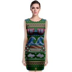 Ugly Summer Ugly Holiday Christmas Green Background Classic Sleeveless Midi Dress