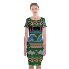 Ugly Summer Ugly Holiday Christmas Green Background Classic Short Sleeve Midi Dress