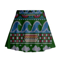 Ugly Summer Ugly Holiday Christmas Green Background Mini Flare Skirt