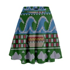 Ugly Summer Ugly Holiday Christmas Green Background High Waist Skirt