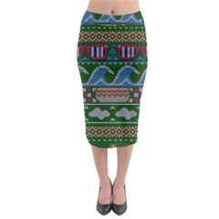 Ugly Summer Ugly Holiday Christmas Green Background Midi Pencil Skirt