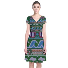 Ugly Summer Ugly Holiday Christmas Green Background Short Sleeve Front Wrap Dress