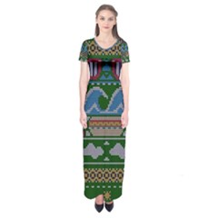 Ugly Summer Ugly Holiday Christmas Green Background Short Sleeve Maxi Dress