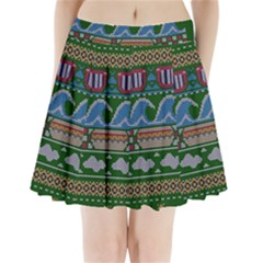 Ugly Summer Ugly Holiday Christmas Green Background Pleated Mini Skirt