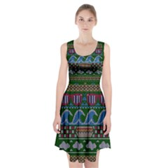 Ugly Summer Ugly Holiday Christmas Green Background Racerback Midi Dress
