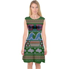Ugly Summer Ugly Holiday Christmas Green Background Capsleeve Midi Dress