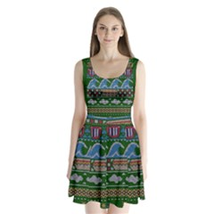 Ugly Summer Ugly Holiday Christmas Green Background Split Back Mini Dress