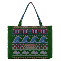Ugly Summer Ugly Holiday Christmas Green Background Medium Zipper Tote Bag