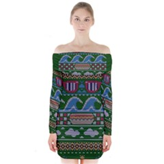 Ugly Summer Ugly Holiday Christmas Green Background Long Sleeve Off Shoulder Dress