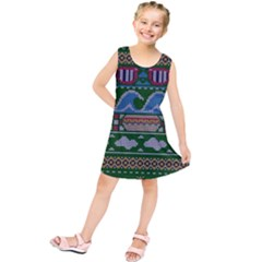 Ugly Summer Ugly Holiday Christmas Green Background Kids  Tunic Dress