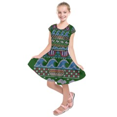Ugly Summer Ugly Holiday Christmas Green Background Kids  Short Sleeve Dress