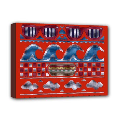Ugly Summer Ugly Holiday Christmas Red Background Deluxe Canvas 16  X 12