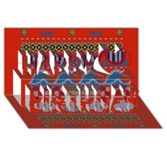 Ugly Summer Ugly Holiday Christmas Red Background Happy Birthday 3d Greeting Card (8x4)