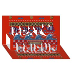 Ugly Summer Ugly Holiday Christmas Red Background Best Friends 3d Greeting Card (8x4)