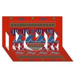 Ugly Summer Ugly Holiday Christmas Red Background MOM 3D Greeting Card (8x4)