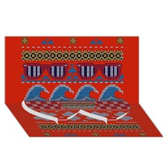Ugly Summer Ugly Holiday Christmas Red Background Twin Heart Bottom 3d Greeting Card (8x4)