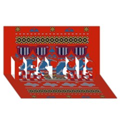Ugly Summer Ugly Holiday Christmas Red Background Best Sis 3d Greeting Card (8x4)