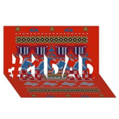 Ugly Summer Ugly Holiday Christmas Red Background #1 Dad 3d Greeting Card (8x4)