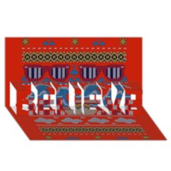 Ugly Summer Ugly Holiday Christmas Red Background Believe 3d Greeting Card (8x4)