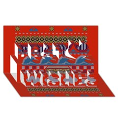 Ugly Summer Ugly Holiday Christmas Red Background Best Wish 3D Greeting Card (8x4)