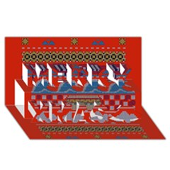 Ugly Summer Ugly Holiday Christmas Red Background Merry Xmas 3d Greeting Card (8x4)
