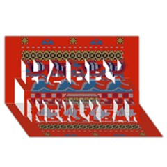Ugly Summer Ugly Holiday Christmas Red Background Happy New Year 3D Greeting Card (8x4)
