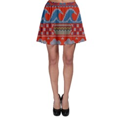 Ugly Summer Ugly Holiday Christmas Red Background Skater Skirt
