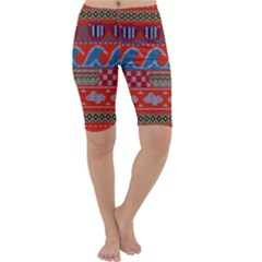 Ugly Summer Ugly Holiday Christmas Red Background Cropped Leggings