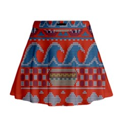 Ugly Summer Ugly Holiday Christmas Red Background Mini Flare Skirt