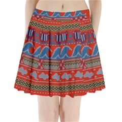 Ugly Summer Ugly Holiday Christmas Red Background Pleated Mini Skirt