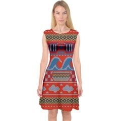 Ugly Summer Ugly Holiday Christmas Red Background Capsleeve Midi Dress