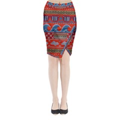 Ugly Summer Ugly Holiday Christmas Red Background Midi Wrap Pencil Skirt