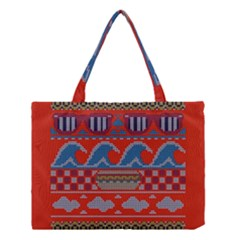 Ugly Summer Ugly Holiday Christmas Red Background Medium Tote Bag