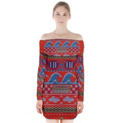 Ugly Summer Ugly Holiday Christmas Red Background Long Sleeve Off Shoulder Dress